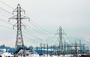 A network of electrical utilities in the Port of the Dalles, looking west.
