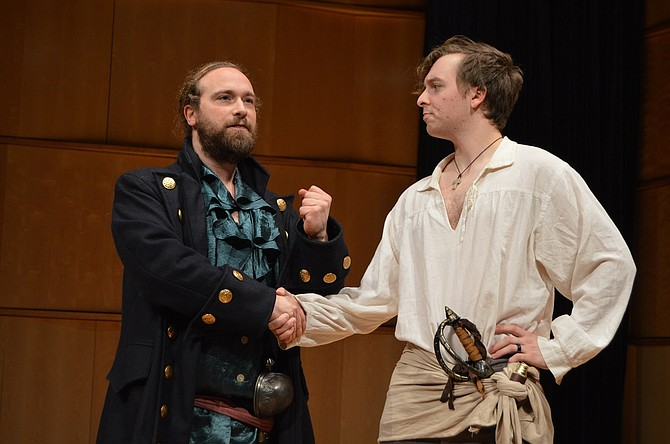 Will Thayer-Dougherty (Richard, the pirate king) tells Ari Bloodgood (Frederic), that, when he comes back to eradicate the pirates, to do it as quickly and painlessly as possible.