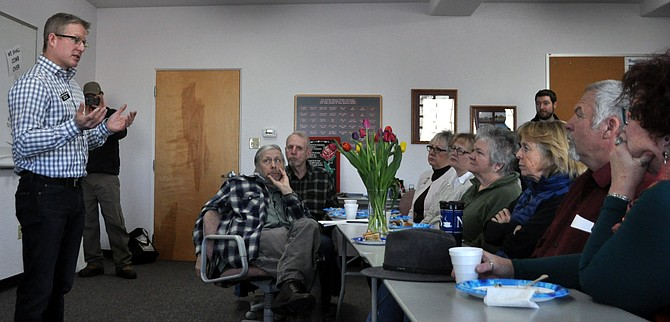 Mat Erpelding, Dist. 19 Representative, (left) spoke to more than 40 people who attended a political meeting Jan. 29 at the Soltman Center in Grangeville, sponsored by the Idaho County Democrats.