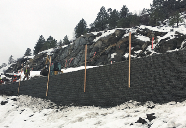 The Columbia River Road remains closed near the north end of Omak Lake after a landslide last March, but work is under way to repair the route between Omak-Okanogan and Nespelem.