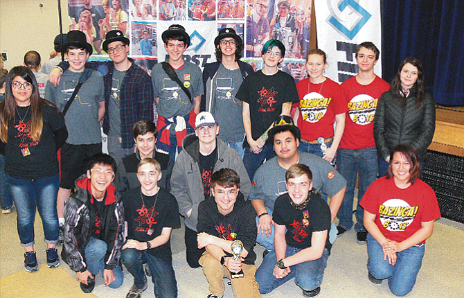 Wasco 4-H and TDHS robotics teams competed Saturday in Hillsboro and three teams will advance to the Oregon State Robotics Championship. Pictured (from left, front row) Jacob Barthlomew, Matthew Miller, Jacob Stansbury, Stephen Ganders, April Child. Middle Row: Brennan Sullivan, Charlie Arthur, Miguel Ramirez. Back Row: Giselle Villa, Jacob Ganders, Orville Grout, Jacob Field, Jared Leibowitz, Katrina Carlson, Rebecca Stiles, Preston Klindt and Azure Compton.