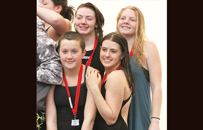 The Dalles swimmers, pictured from right to left, Natalie Varland, Bree Webber, Molly Nelson and Hannah Weeks earned a state bid with a time of 1:51.62 in the 200-yard freestyle relay.