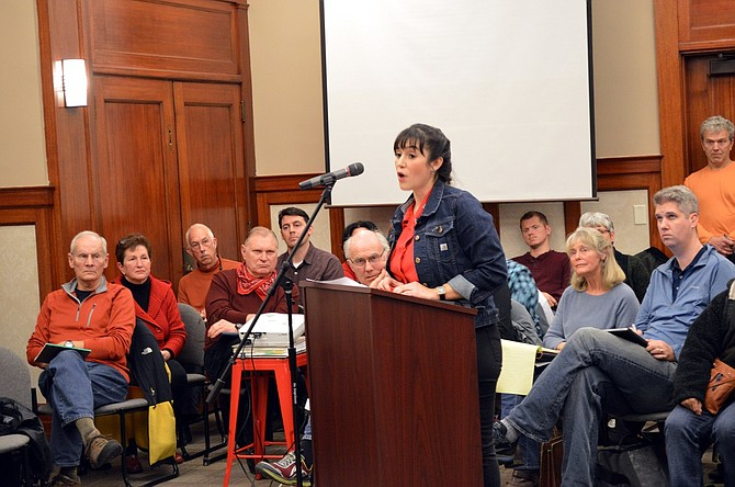 LETICIA VALLE speaks in favor of a proposal to rezone Morrison Park for affordable housing development. At a packed Hood River Planning Commission meeting Tuesday night, dozens of opponents and proponents stated their case.