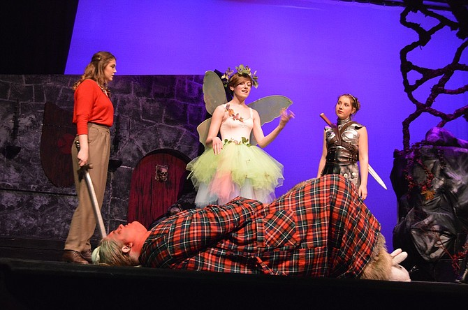 Farrah the Fairy (Kelsey Stewart) might be beautiful, but she's deadly — as she proves to sisters Agnes (Savannah Rogan, left) and Tilly (Ella VanCott) after easily felling demon Orcus (Aiden Tappert).