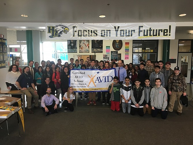 STUDENTS and administrators celebrate Hood River Valley High School's becoming a Certified AVID School earlier this year. HRV recently received a Nike School Innovations award that will be used to send teachers from three district AVID sites to training this summer.