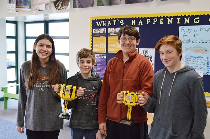 THE PANDROIDS — Grace Guertin, Cam Amer, Jason Fellow and Toby Fenner, all of Wy'east Middle School — is the first Gorge FLL team to ever make it to the World Competition, held in Texas. The team, one of only two selected from Oregon, needs about $10,000 to make the trip and are fundraising to make it happen.