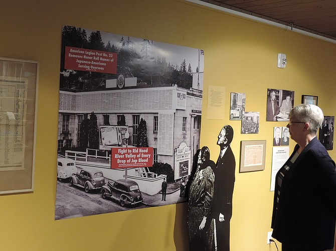 ENLARGED images accompany panels an other narrative elements in the Minoru Yasui exhibit at The History Museum of Hood River County, through April 3, along with original letters and documents. In addition, the museum features a permanent exhibit, with video, of events of 1942-46.