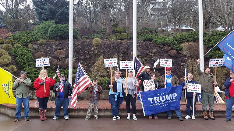 """""""March 4 Trump"""" supporting President Donald Trump happened March 4 at Overlook Memorial Park on State Street, attended by about 20 people. Organizer Loran Ayles said, """"The event was actually one of only two nationally sanctioned events held in the entire state of Oregon."""