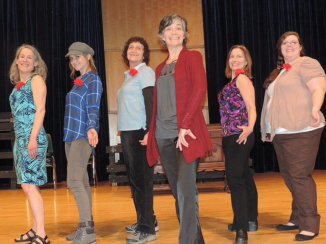"FRIENDSHIP blooms among 'Calendar Girls,' including Kathleen Morrow, left, Blaire Carroll, Kathy Williams, Barb Berry, Maren Euwer, and Kat Blackmar. They prepare to pose, not quite naked, for a fundraising calendar of a distinctly different profile than ""Views of Local Churches,"" in a small town in Yorkshire, England. Lynda Dallman directs."
