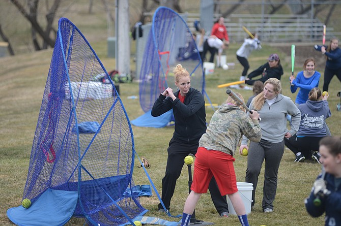 Grangeville's softball squad got some work outdoors on Monday, March 13, when Hayley Fishback — who has coached softball clinics as well as the Clearwater Valley girls team in the recent past — delivered a hitting clinic at Lions Park. Clearwater Valley doesn't have a softball team this spring, and Kamiah is in cooperatives with Nezperce for both baseball and softball. Regular seasons across the area had been scheduled to open last week, but because many fields are still quite muddy, Tuesday, March 14, marked most starts.