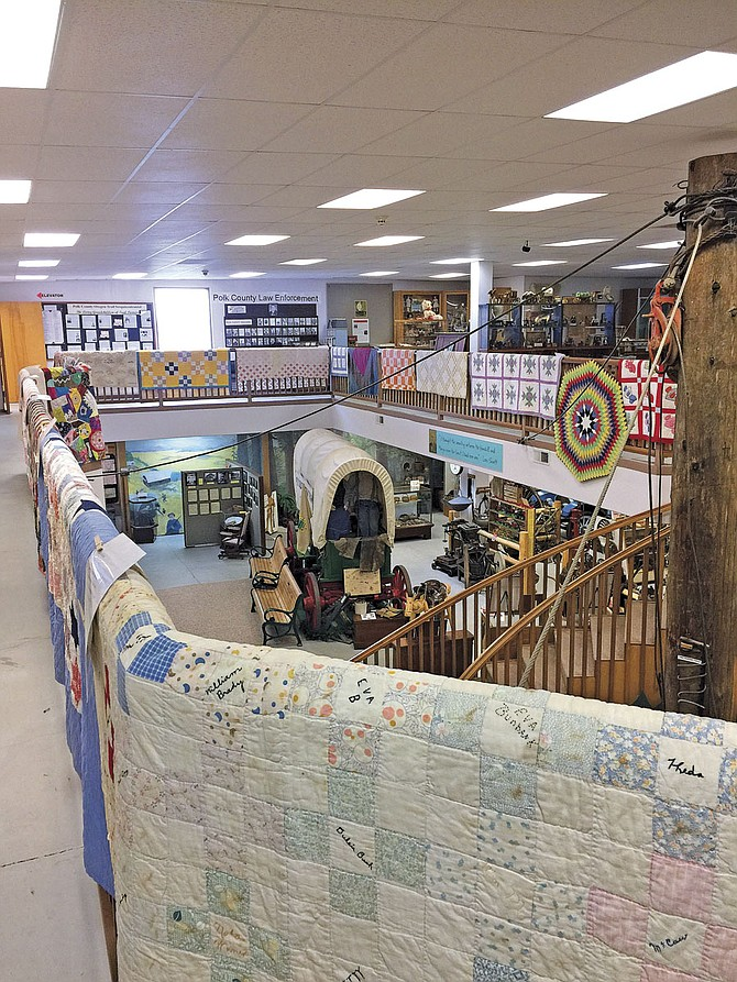 Quilts old and new will be displayed at the Polk County Museum through April. Quilts date from the 1840s to the last 20th century. Some have detailed family history or were made to honor U.S. presidents.
