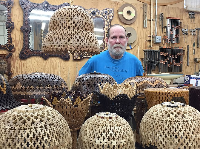 "Colors in Roger Beck's ""wood lace"" lamps are the natural shades of many different kinds of wood. He creates the lamps in a 4,000-square-foot wood shop and has just started selling them."
