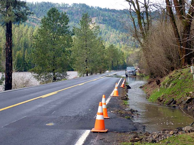 According to photographer Nick Gerhardt, the culvert at MP 81.5 on US 12 has been a chronic problem. Erosion at the inlet resulted in the loss of phone service to Syringa and Lowell late last week. Phone service was restored on March 11, and ITD repaired the culvert inlet on March 13. However, the inlet plugged again by March 15, diverting water down the ditchline for a considerable distance.