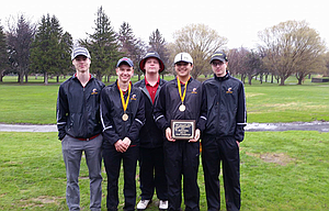 The Dalles boys' golf team combined forces for a four-person total of 316 to take home first place in the Riverhawk Invitational for the first time in more than a decade Friday at The Dalles Country Club. In the photo are, from left to right, Mark Felderman, Chase Snodgrass, Jacob Ford, Aidan Telles and Tyler Vassar. Snodgrass carded a 76 for medalist honors, finishing two strokes ahead of Vassar, who was tied for second place after a 78.