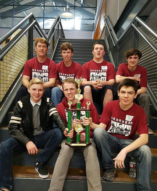 Okanogan High School's Knowledge Bowl team includes (front, from left) Blake Chesledon, Mason Duke, Rowan Bauer, (back) coach Jeff Cheeseman, Max Cheeseman, Jordan Marbach and Shayne Richey.