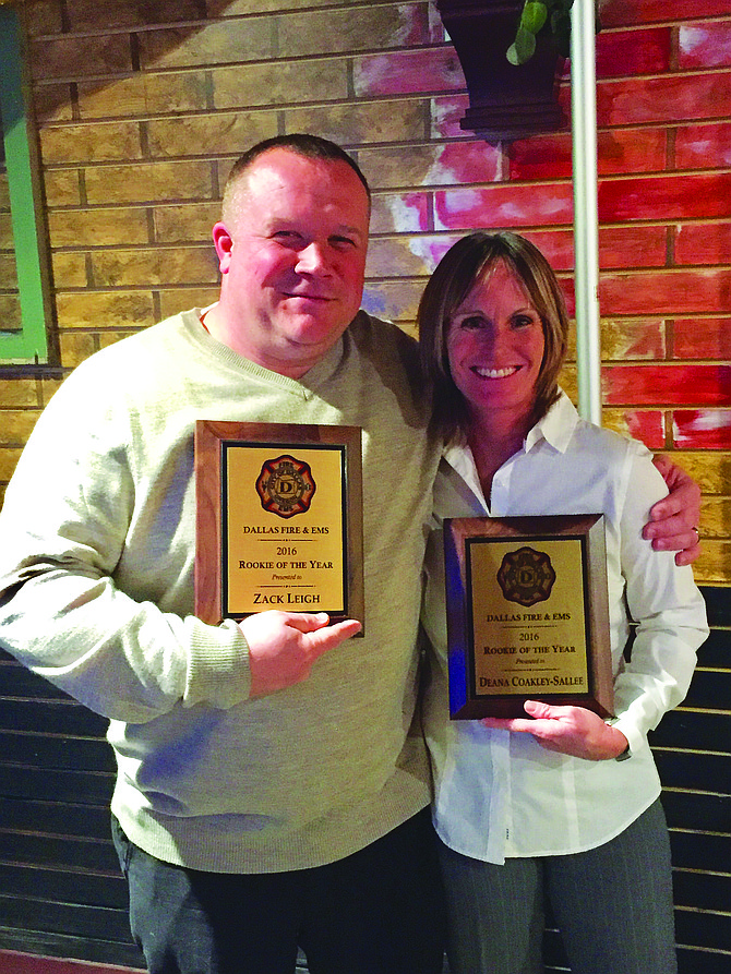 Zack Leigh and Deana Coakley-Sallee were named the Dallas Fire & EMS rookies of the year for 2016. The pair of newbies put in a combined 300 hours of training last year and have enrolled in the EMT training program.