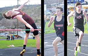 Track and Field athletes, pictured from left to right, Justin Conklin, Ezekiel Stelzer and Luke Holste kicked off the 2017 track season with solid efforts at Saturday's Mullen-Leavitt Invitational at Sid White Field on Saturday. In all, 17 teams participated.