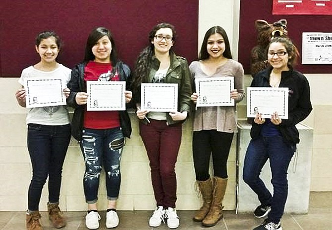 Sunnyside High School February Students of the Month are, from left to right, Yessel Carrasco, Miraiya Reyes, Laurissa Ruiz, Maribel Estrada and Ruby Duarte-Michel.