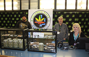Columbia River Herbals is hiring more employees to keep pace with demand after opening a second store in The Dalles on March 17. Left to right are David Day, budtender; Norm Brock, owner; and Alyse Stafford, operations manager.
