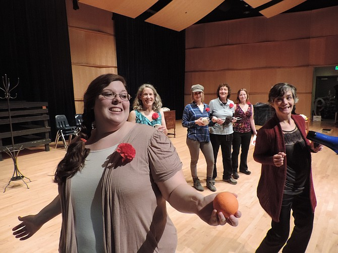 Kat Blackmar, left, and Barb Berry, right, prepare their calendar poses in the comedy 'Calendar Girls' continuing its run at Wy'east Middle School Performing Arts Center in Odell. Also shown, from left, are Kathleen Morrow, Blaire Carroll, Kathy Williams, and Maren Euwer.