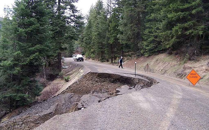 Cedar Creek Road slide, pictured Friday, March 24. The road suffered a dramatic collapse the evening prior, causing an approximate 25-foot-deep washout.