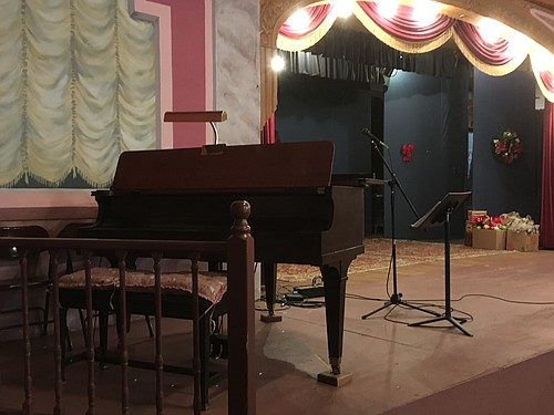 A piano sits at stage left in the upstairs theatre of the Kooskia Opera House. Many performers, including Jazz legend Lee Morse, have graced this stage.