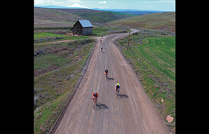 Riders navigate a gravel road east of The Dalles in a previous Gorge Gravel Grinder Ride, which returns this weekend to The Dalles.