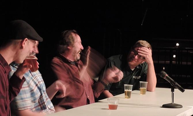 Sharing a laugh are writer Jeff Alworth, left, Pfriem (obscured), Matt Swihart, and Jason Kahler.