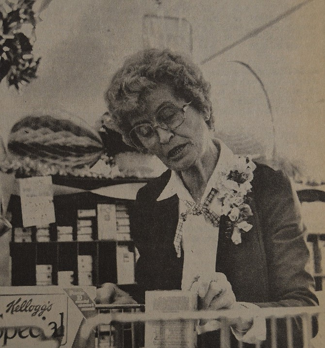 April 8, 1987 — Helen Annala moves items quickly through her check stand at Rosauers Supermarket — but it's a scene that won't repeat itself. Saturday was her last day on the job after a dozen years at the Hood River Shopping Center store.