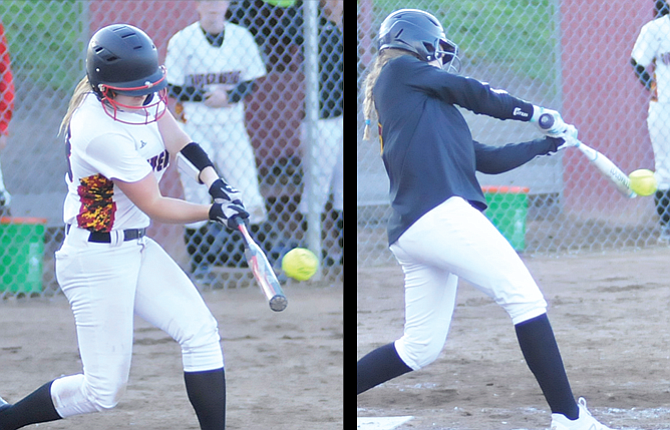 The Dalles hitters, pictured from left to right, Sierra Watson and Lauryn Belanger helped spearhead an offense that rattled off a season-high 24 hits, 12 for extra bases, in a 22-0 mercy-ruled walloping of 6A Canby Friday in a softball game played at 16th Street Ballpark.