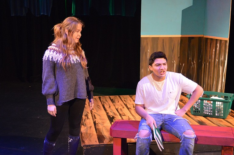 """Emily Spezia-Shwiff and Alex Gamez in """"This Hurts,"""" one scene from """"Almost, Maine,"""" showing this weekend at Columbia Center for the Arts. Shows begin at 7 p.m. on April 14-15, with a 2 p.m. matinee on April 15. This is the second of two winter plays put on my Hood River Valley High School theater students."""