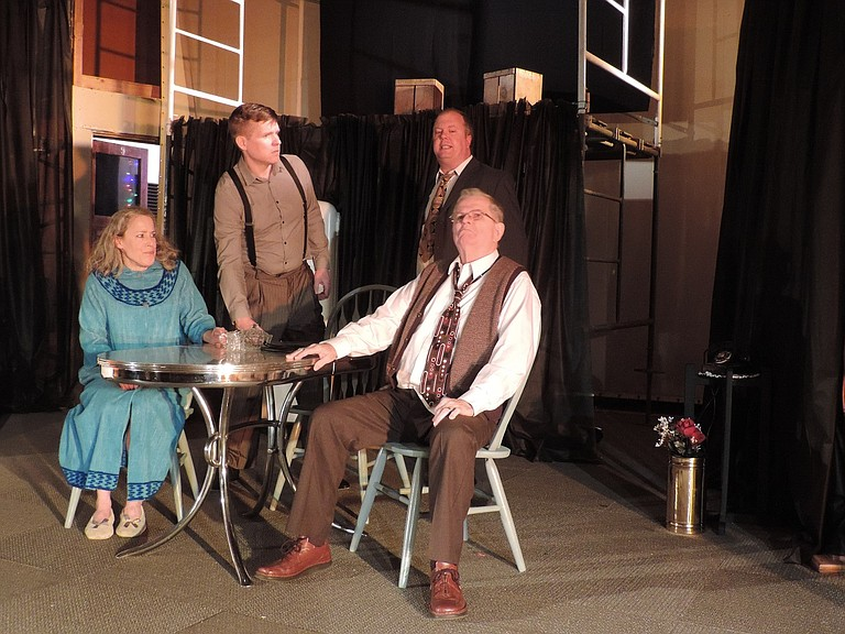 """BIFF, Happy (Erik Lundby) and Linda Loman confront Willy in """"Death of a Saleman,"""" showing at the Bingen Theater April 13-15, and 20- 22 at 7:30 p.m. and April 23 at 2 p.m."""
