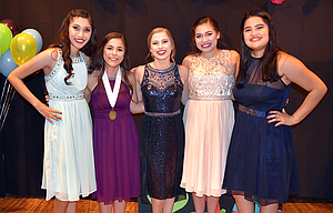 Winners of the 2018 Distinguished Young Women of Wasco County program Saturday night are, left to right, Monica De Leon, winner of the Spirit Award ($1,000); Jessika Nanez, Distinguished Young Woman of Wasco County 2018 winner ($5,000) and Scholastic Award winner ($1,750); Samantha Stanley, finalist ($1,500); Alexia Tapia, finalist ($1,500); and Nicole Hernandez, first alternate ($2,250).