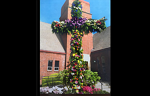 Zion Lutheran Church, at 10th and Union, displays a cross every Easter that gets covered in flowers. Its pastor is asking for community donations of flowers to help cover the the cross.