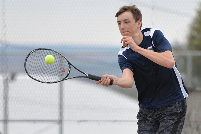 Grangeville sophomore Colby Kennedy won three matches Tuesday night, April 11, at GHS, against tennis players from Orofino and Culdesac.