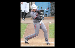 Sherman slugger Brett Troutman laces a single in a game played this season. The No. 12 Huskies split a pair of games Tuesday against Weston-McEwen.