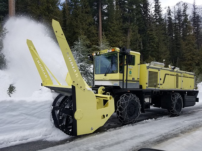 The new snow blower for eastern Washington takes a turn at clearing Highway 20 between Early Winters and Silver Star.
