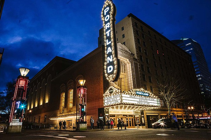 """The """"Portland"""" sign at the Arlene Schnitzer Concert Hall was installed in 1984 and is undergoing a renovation in 2017."""