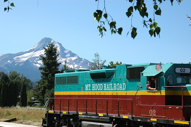 RAILCAR pulls up near Parkdale. Mount Hood Railroad's excursion trips are returning to the upper valley.