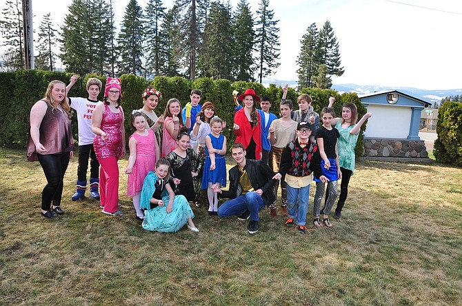 Large group of tweens and teens in the Follies. Back row, from left, Sofiya Cron, Colton Nussbaum, Aimee Dugger, Courtney Castaneda, Natasha Muenzer, Brandon Moore, Maggie Ishizaka, Megan Ball, Mateo Garcia, Lily Moore, Anthony Schu, Kelsey Stewart, Nova Moore and Grayce Bigelow. In front from left are Kristin Fox, Bella Rogers, Marina Castaneda, Sierra Muenzer and Onar Smith.