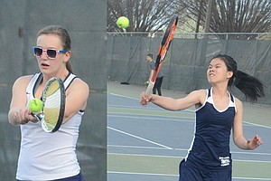 Grangeville senior Rachel Kelley (left) posted an 8-0 win in girls singles play April 17 against the Lewiston JV on the strength of overpowering serves and volleys like the pictured two-handed backhand. On an adjacent court in girls doubles play, Bulldogssophomore Thaun Le showed a mix of aggression and finess with a variety of winners played on sharp angles from the net.