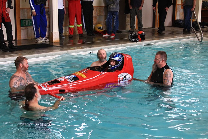 Capsule training Salmon River Jet Boat race participants underwent before the races last weekend came in handy after an accident had one driver-navigator team scrambling to avoid being swept under. Pictured is the certification session participants underwent before the race.