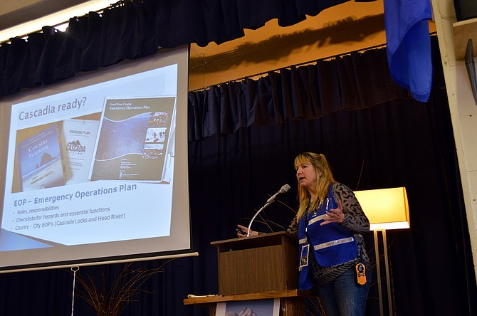 """Barb Ayers, Hood River County emergency manager, speaks at Rockford Grange during the """"Big One 2.0"""" open house, educating the public about the Cascadia Subduction zone earthquake."""