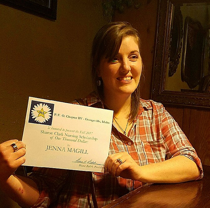 Jenna Magill of Grangeville was recently presented with this year's $1,000 Sharon Clark Nursing Scholarship by PE0 Chapter BV.