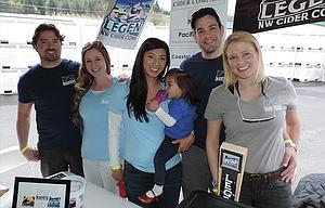 Legend crew, from left: Tyler Bauman, Adrianne Bauman, Martina Piel, with Adeline Piel, 18 months, Andrew Piel, and Cassie Senders, at Hard Pressed Cider Fest.