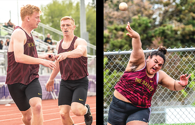 The Dalles High School attended the Dean Nice Invitational Friday in Gresham and racked up 15 personal records overall. TD's J.R. Scott, on left, hands the baton off to Jack Bonham in the 4x400-meter relay. Mercy Iaulualo, on right, claimed eighth in the shotput with a toss of 33-01.