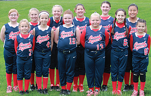 The Cherry City Crush 10U competitive softball team finished with an 0-4 overall record in a combined 'B/C' level tournament played last weekend in Newberg. Coach Bob Delaney sees a united and hard-working group that can make solid gains as the season progresses. Pictured are, from left to right, starting in the front row, Bryce Newby, Ava Graves, Makenzie Barrett, Siyra Faulkner, Keily Lutgens and Makiah Iven. In the back row, from left, Jaden Hansen, Maddie Brock, Sydney Newby, Laci Hoylman, Lily Marx and Despina Seufalemua.