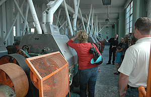 A group of local government and media representatives tour the old Sunshine Biscuit Mill in 2008, led by James Martin, pictured facing the camera in background, prior to restoration work and the creation of Sunshine Mill Winery.