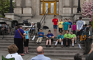 Sonrise Academy students participate May 4 in a local worship service tied to the National Day of Prayer, an annual observance held on the first Thursday of May.