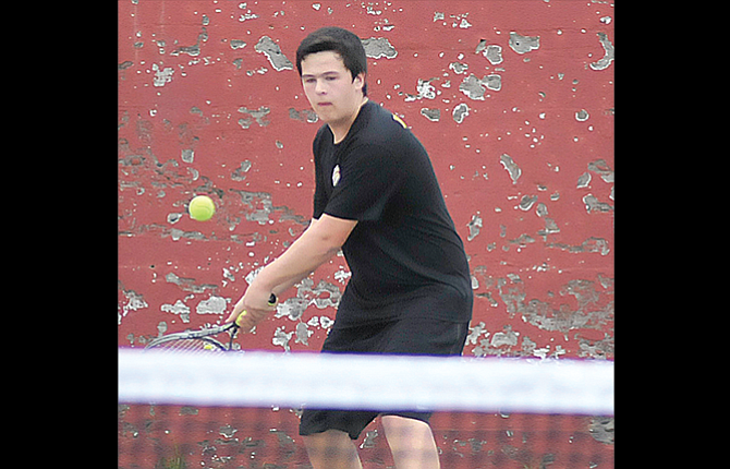 The Dalles tennis player James Pashek squares up a return shot in a match played this season. Pashek and the rest of the Riverhawks wrapped up their regular-season schedule with a 5-3 road loss to Hood River Valley. TD will turn its focus on the upcoming 5A district tournament set for Friday and Saturday, May 12-13 at Sunriver.